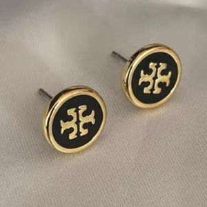 Tory Burch Logo Black Gold Earrings